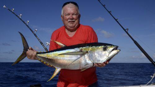 Thon jaune pris en peche a la traine - www.rodfishingclub.com - Rodrigues - Maurice - Océan Indien